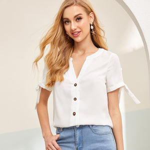 Notched Neck Knot Cuff Blouse