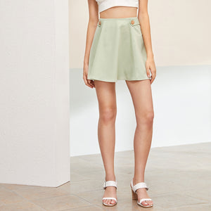 Solid Side Button Zip Back Skater Skirt