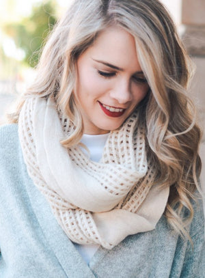 Ivory Grid Design Infinity Scarf