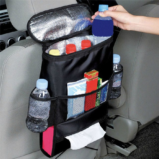 Car Seat Beverage & Tissue Box Cooler Storage - Black