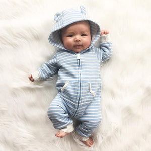 Fashion Baby Clothes Hooded Striped Romper