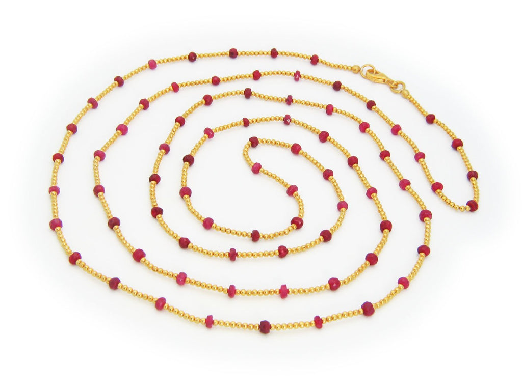 Silver Beads & Ruby Stones Necklace, 42""
