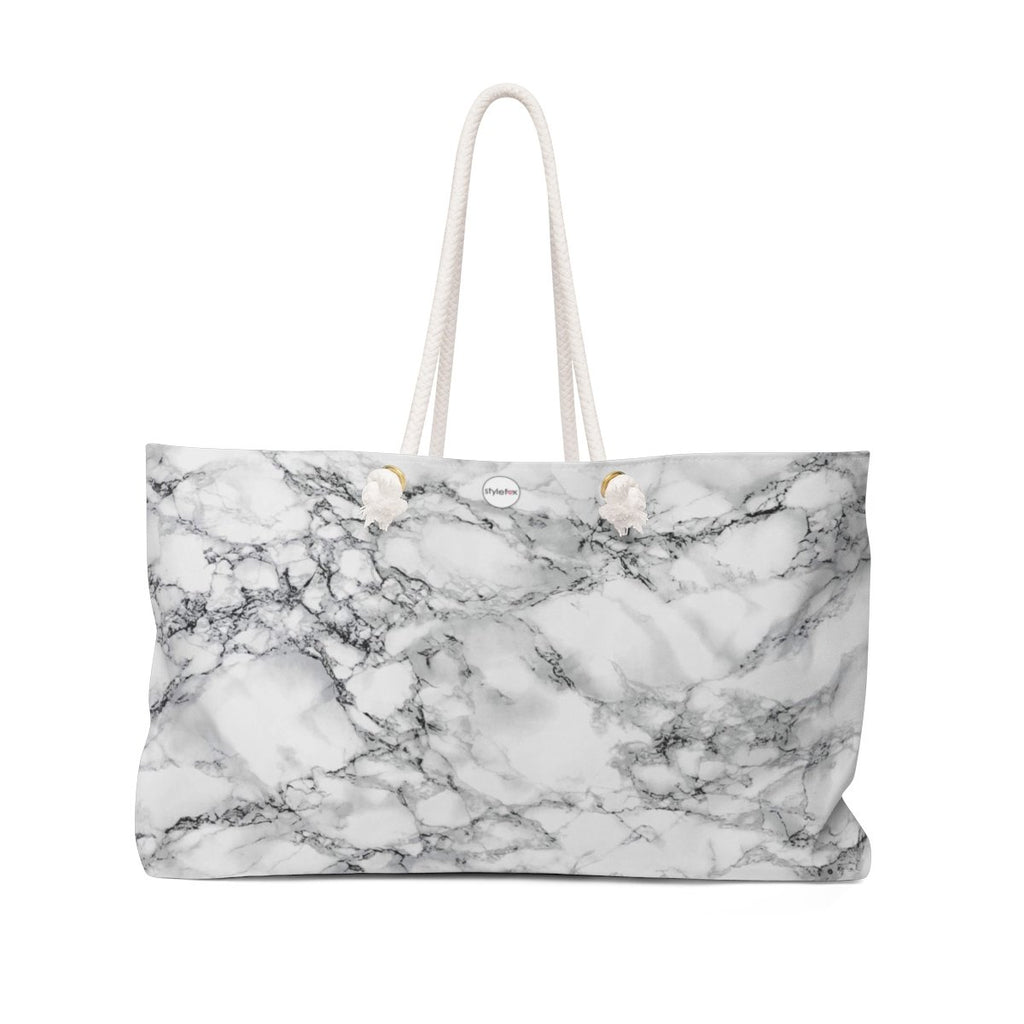 STYLEFOX® Women's H.A.M Weekender Tote Bag - White Marble