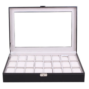 Leather Watch & Accessories Storage Case (24 Grids) - Black