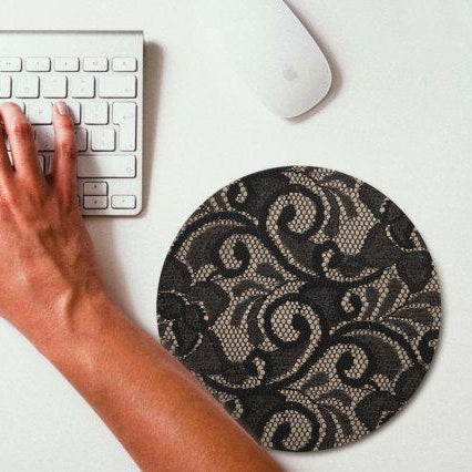 Circle Lace Designer Mouse Pad - Black