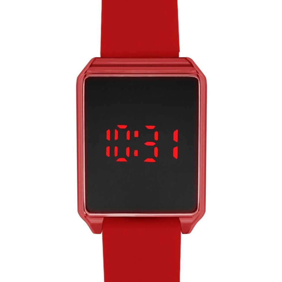 Rectangle Red Rubber Strap LED Touch Screen Watch - Ozark