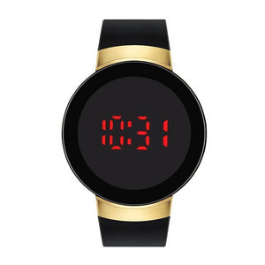 Black/Gold Rubber Strap LED Touch Screen Watch - Opelika
