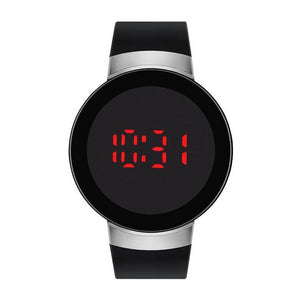 Black/Silver Rubber Strap LED Touch Screen Watch - Montgomery