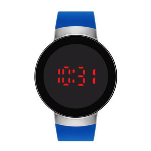 Blue/Silver Rubber Strap LED Touch Screen Watch - Jasper