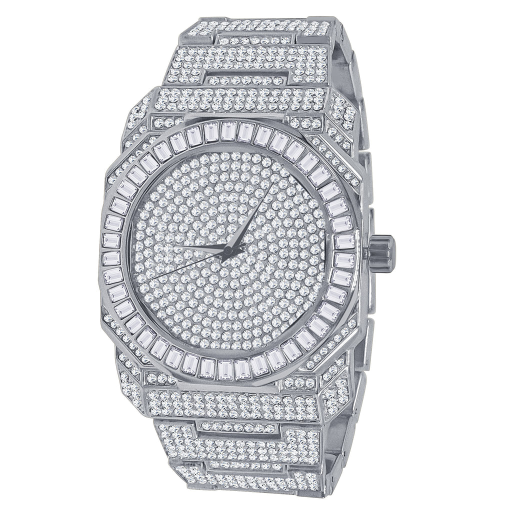 Belvedere Japanese Solid Alloy Bling Wristwatch - Silver/Silver