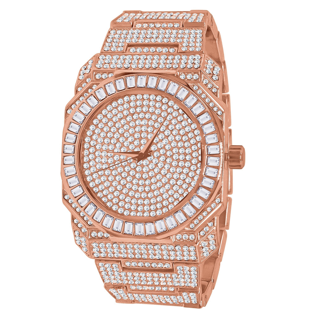 Belvedere Japanese Solid Alloy Bling Wristwatch - Rose Gold/Silver