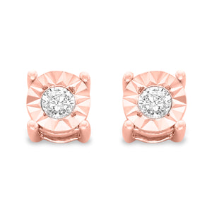 Sterling Silver 1/5ct TDW Large Diamond Earrings - 10k Rose Gold-Plated