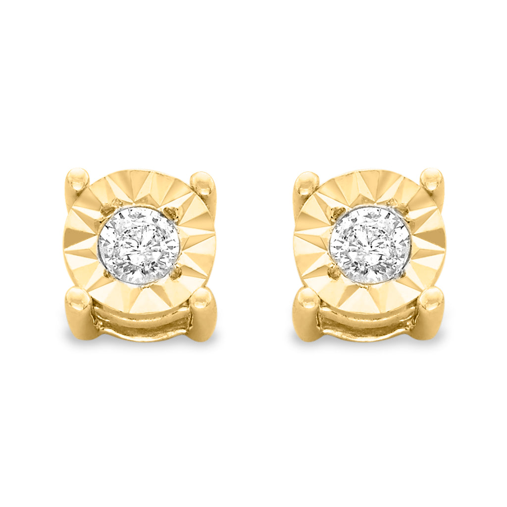 Sterling Silver 1/5ct TDW Large Diamond Earrings - 10k Yellow Gold-Plated