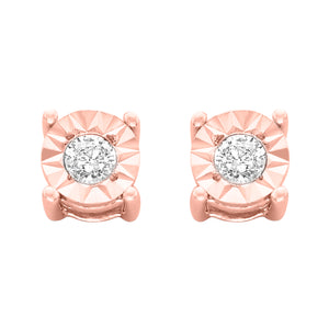 Sterling Silver 1/10ct TDW Round-Cut Diamond Earrings - 10K Rose-Gold Plated