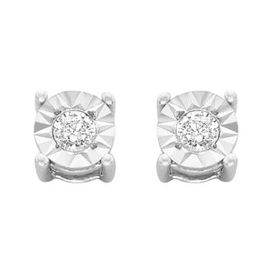Sterling Silver 1/10ct TDW Round-Cut Diamond Earrings