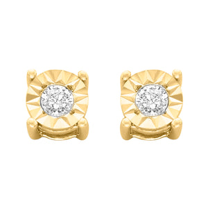 Sterling Silver 1/10ct. TDW Round-Cut Diamond Earrings - 10k Yellow-Gold Plated