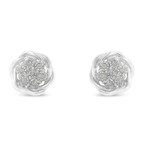 Sterling Silver 1/6ct TDW Diamond Swirl Cluster Earrings