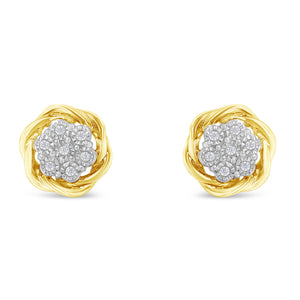 Sterling Silver 1/6ct TDW Diamond Swirl Cluster Earrings - 10k Yellow-Gold Plated