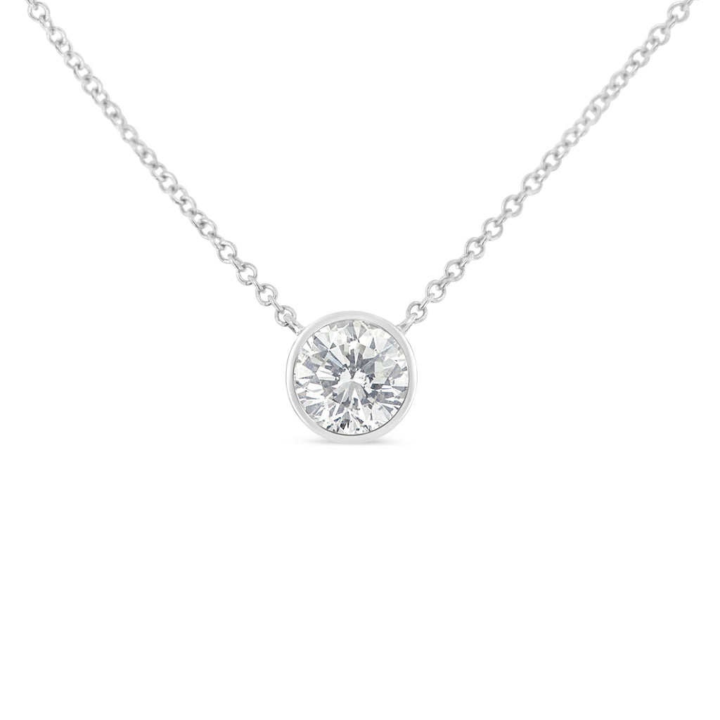 Women's 10K White Gold & Diamond Solitaire Necklace