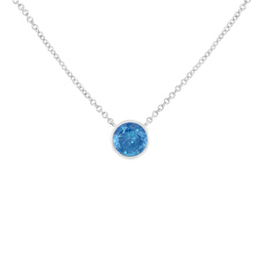 Women's Sterling Silver Necklace & Blue Diamond Necklace
