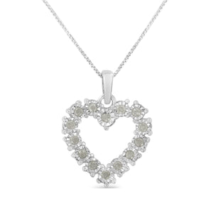 Women's Sterling Silver & Diamond Heart Pendant Necklace