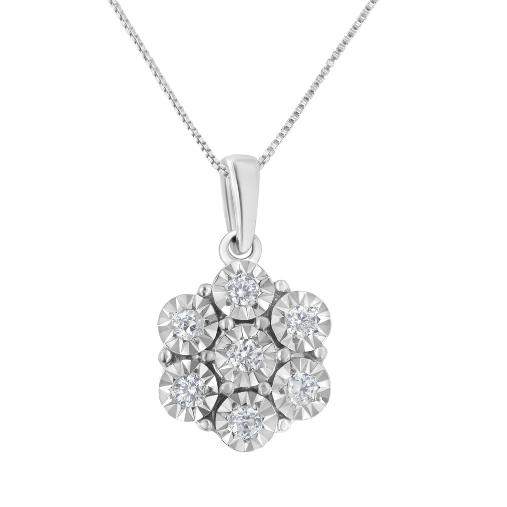 Women's Sterling Silver & Diamond Flower Pendant