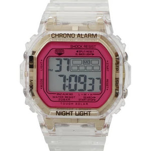Transparent/Gold LCD Watch Magenta Face - Avondale