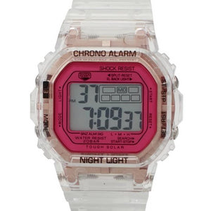Transparent/Rose Gold LCD Watch Magenta Face - Douglas