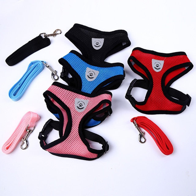 Adjustable Pet Dog Harness and Leash Set - Available in Many Colors and Sizes
