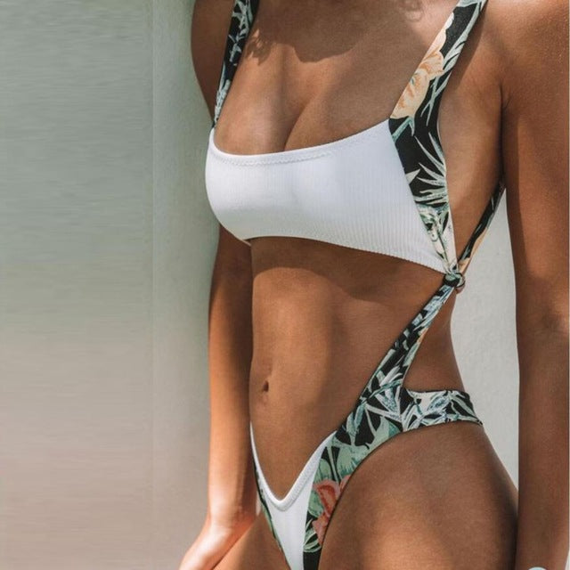 Alluring Women Bodysuit Print Hollow Out Push-Up