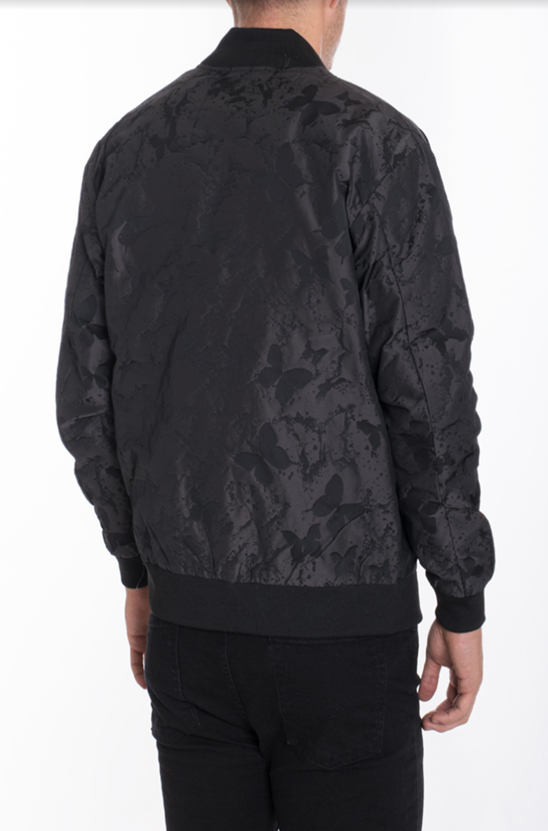 BUTTERFLY PRINTED BOMBER- BLACK