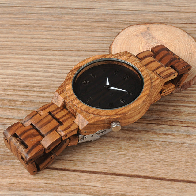 Japanese Wooden Quartz Black Face Watch - Zebra
