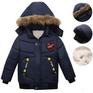 Baby Coat Solid Zipper Thick Hoodie Jackets For