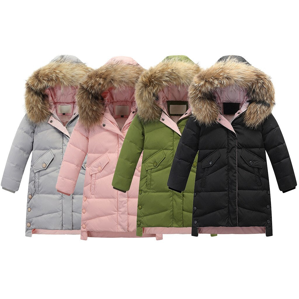 Coat For Girls Solid Hooded Long Girls Jackets