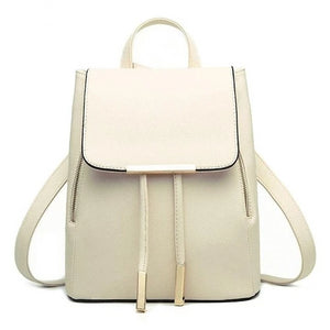 Women's Luxury Gold-Trimmed Leather Backpack - Black, Blue, Beige