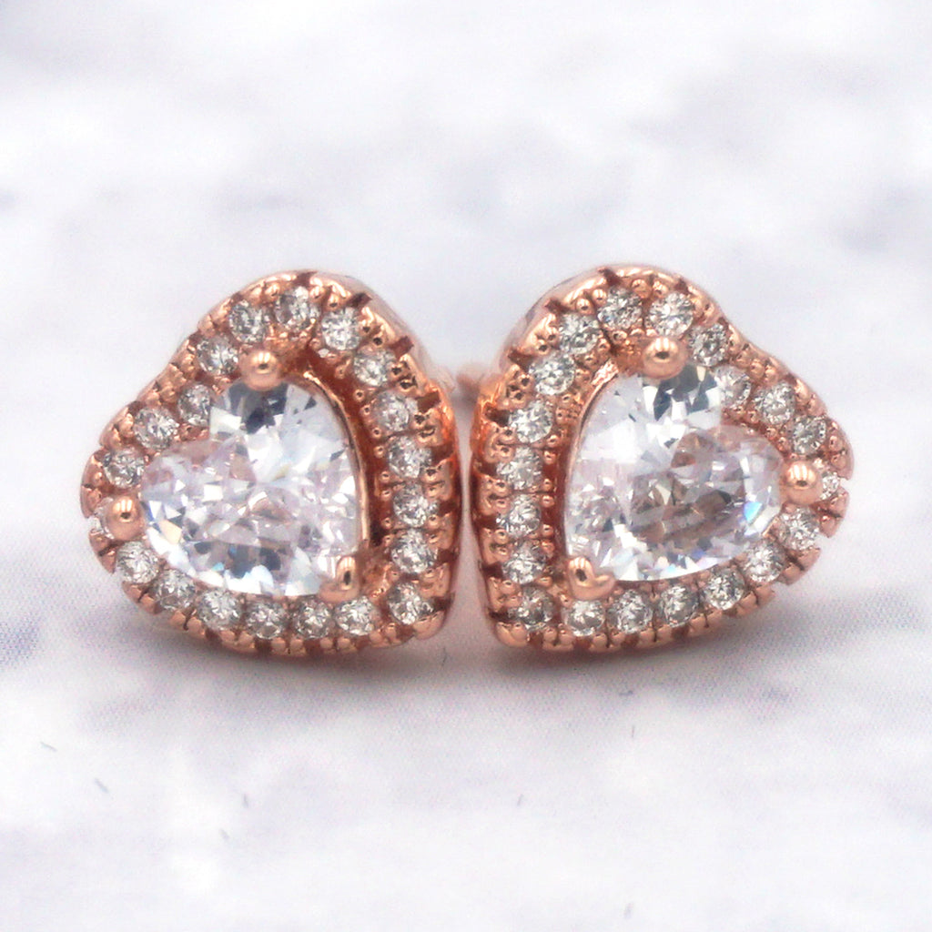 Women's 14K Rose Gold Dipped Sterling Silver Cubic Zirconia Heart Earrings