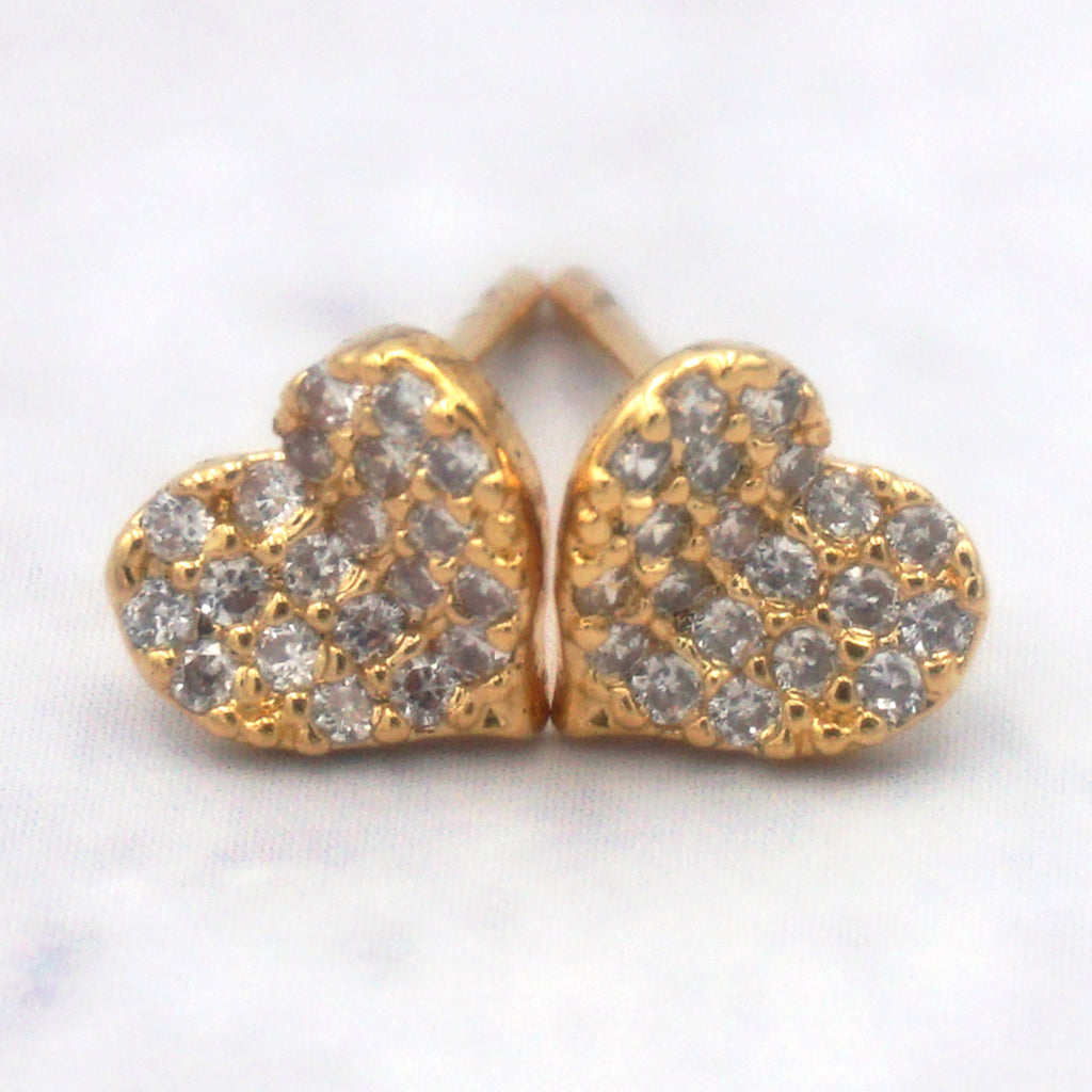Women's 14K Gold Dipped Sterling Silver Cubic Zirconia Heart Earrings