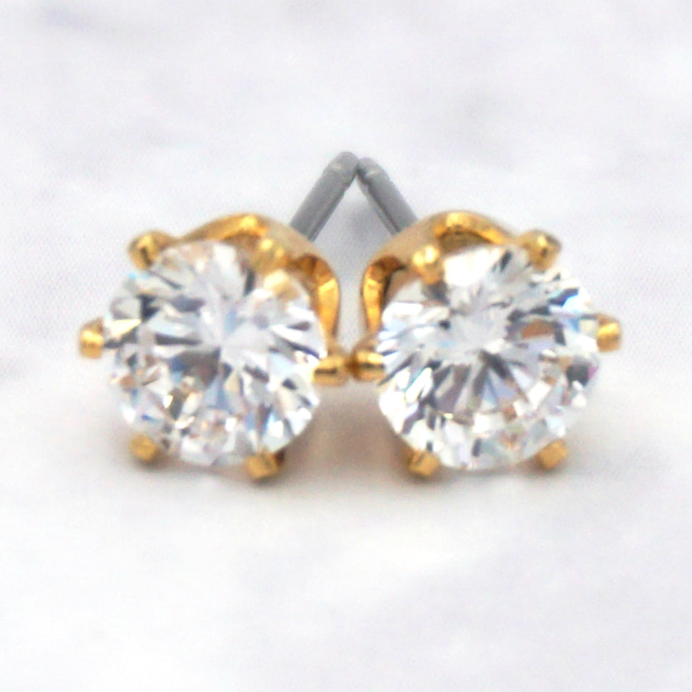 14K Gold Dipped Surgical Steel Cubic Zirconia Hexagon Earrings