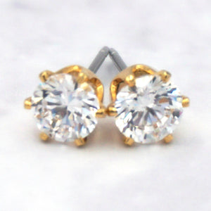 Women's 14K Gold Dipped Surgical Steel Cubic Zirconia Hexagon Earrings