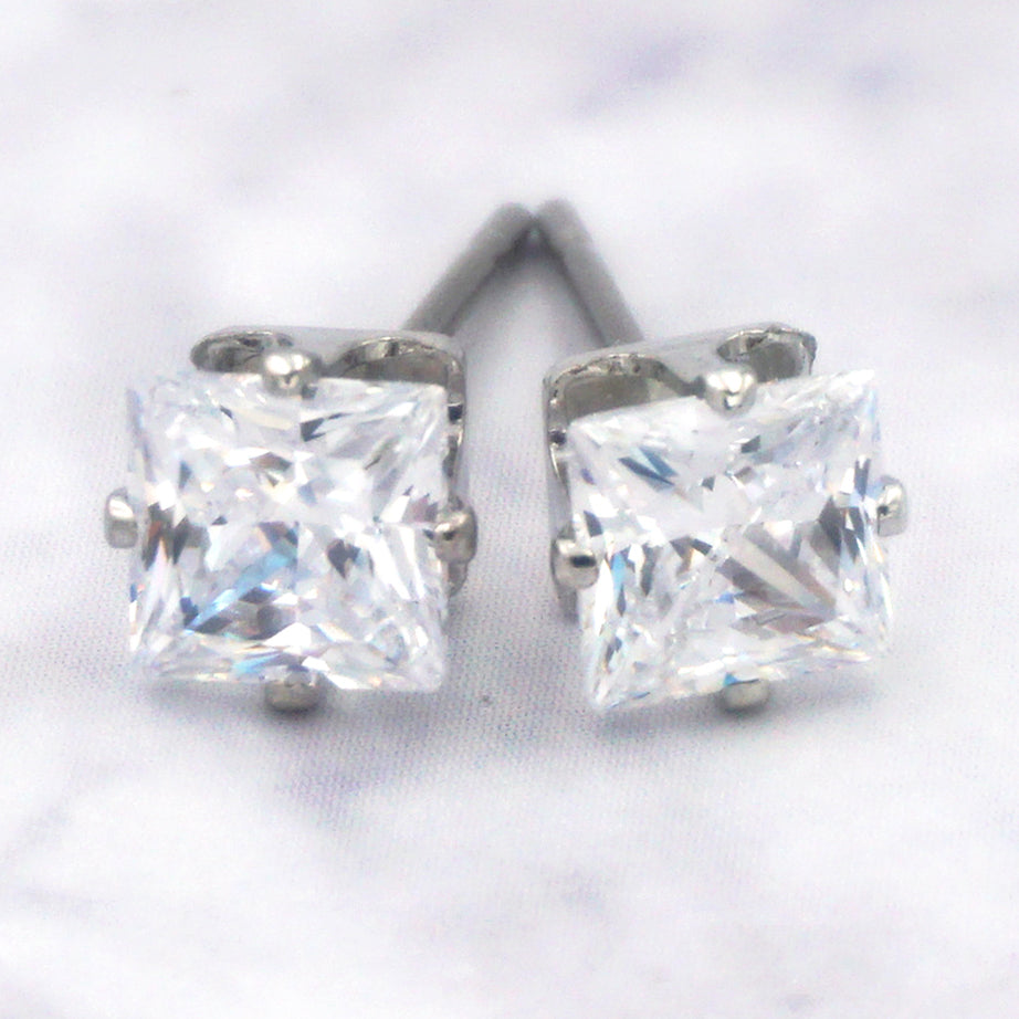 14K White Gold Dipped Surgical Steel Cubic Zirconia Square Earrings