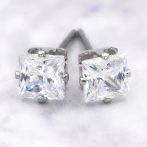Women's 14K Gold Dipped Surgical Steel Cubic Zirconia Square Earrings