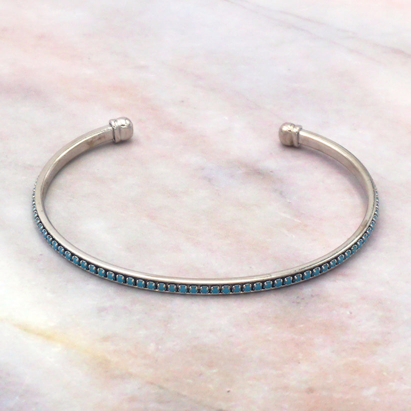 Women's 14K White Gold Dipped Turquoise Bangle