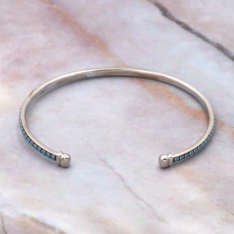 Women's 24K White Gold Dipped Turquoise Bangle