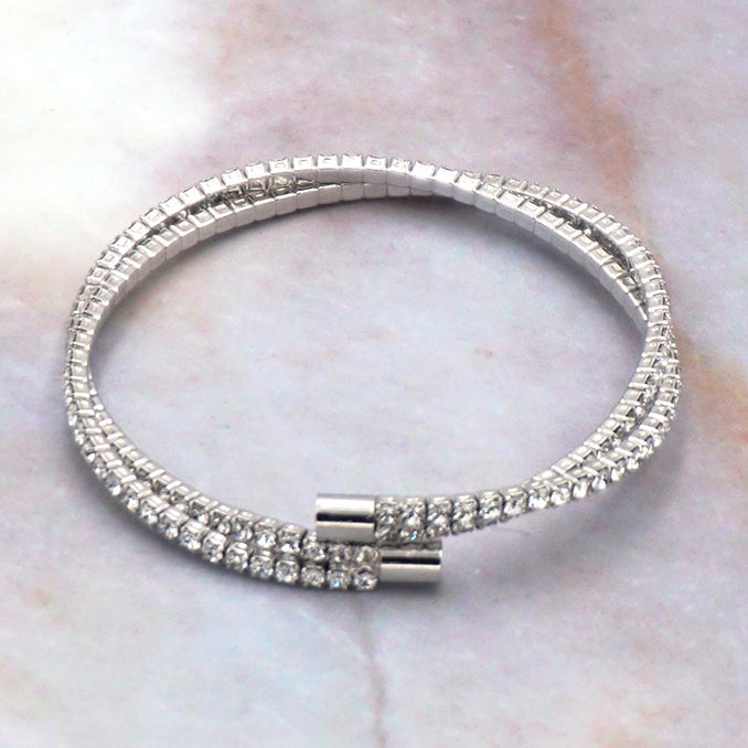Women's Silver Cubic Zirconia Double Layer Tennis Bracelet