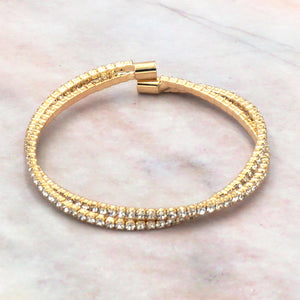 Women's Gold Cubic Zirconia Double Layer Tennis Bracelet