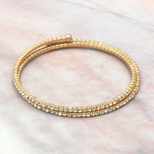 Women's Gold Cubic Zirconia Double Layer Wrap Tennis Bracelet