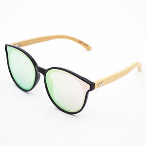 BAM Round Cat-eye Pink Mirror Bamboo Sunglasses