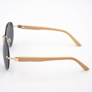 BAM Rimless Aviator Bamboo Sunglasses