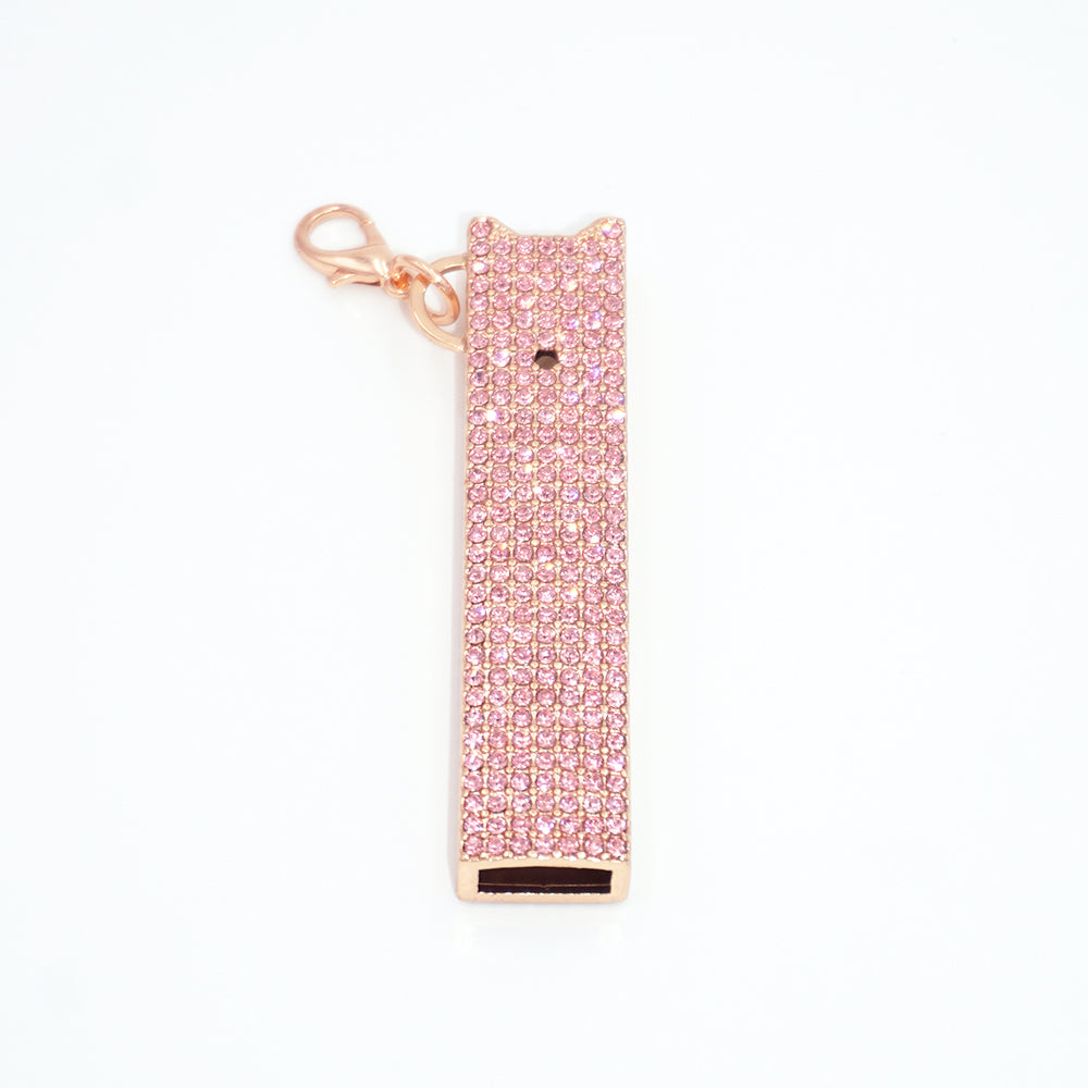 JUULRY Gold/Pink Bling JUUL Case w/ Chain & Clip Set