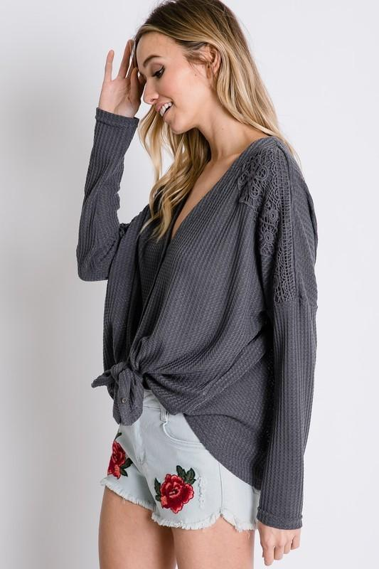 Waffle Knit Lace Button Down - Charcoal